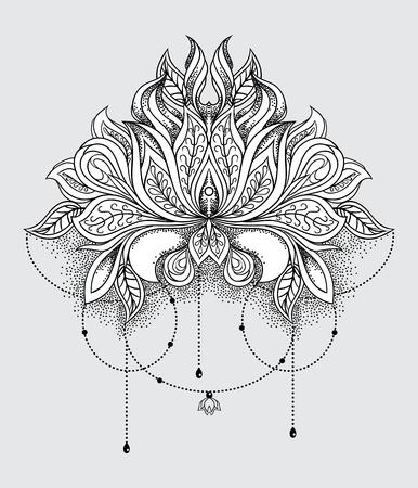Beautiful hand drawn ornamental lotus flower. Ethnic patterned mandala in line art style. Vector illustration 免版税图像 - 121947981