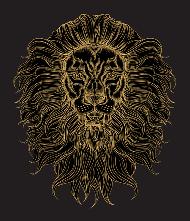 Hand drawn gold lion head in line art and dot work trendy style. Hipster t-shirt design.