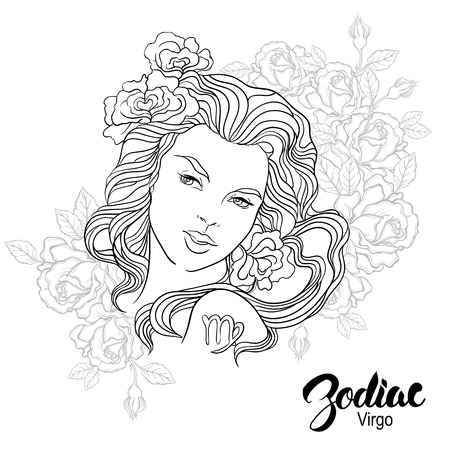 beatiful: Zodiac illustration of Virgo as girl with flowers. Design for coloring book page.
