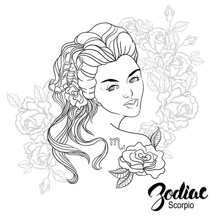 beatiful: Zodiac illustration of Scorpio as girl with flowers. Design for coloring book page.
