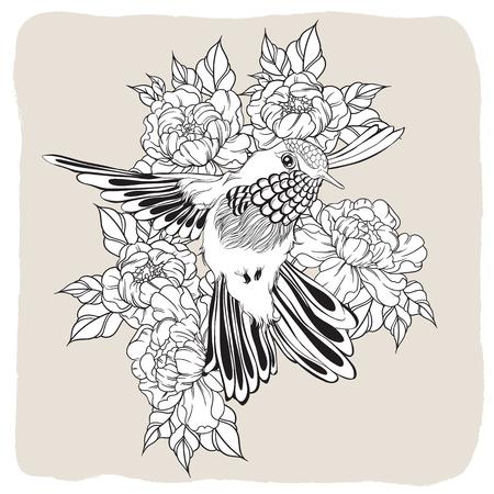 dibujado a mano volar el pájaro del tarareo con la flor de peonía. ilustración de estilo dibujos lineales. Camiseta o el diseño del tatuaje