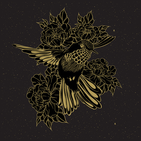 humming: Hand drawn flying humming bird with peony flower. Vector illustration in line art style. T-shirt or tattoo design
