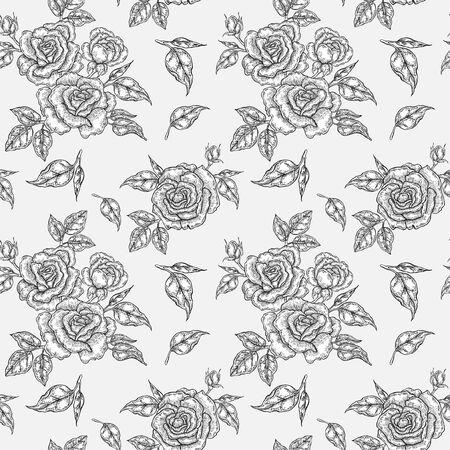Vintage rosa flores, brotes y hojas. Patrón transparente de vector. Ilustración para telas, envases de regalo, textiles y diseño de tarjetas
