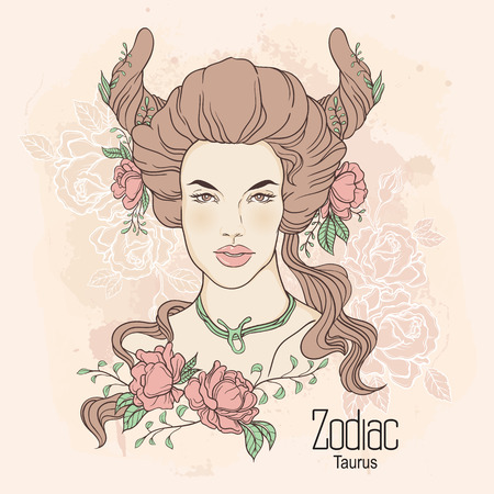 Zodiac. Vector illustration of Taurus as girl with flowers. Design for coloring book page.