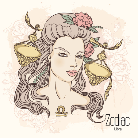 Zodiac. Vector illustration of Libra as girl with flowers. Design for coloring book page.