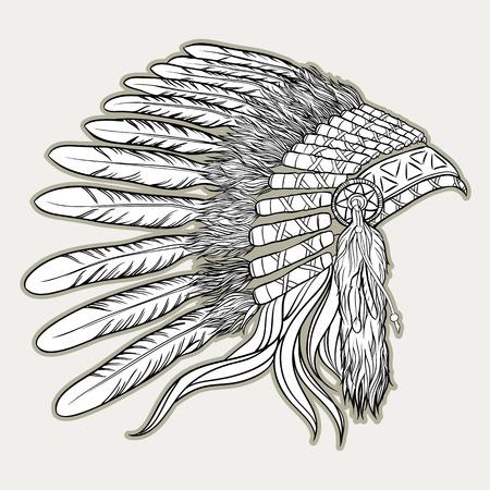 iroquois: Indian chief headdress vector illustration. Illustration