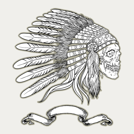 tomahawk: American indian chief vector illustration.