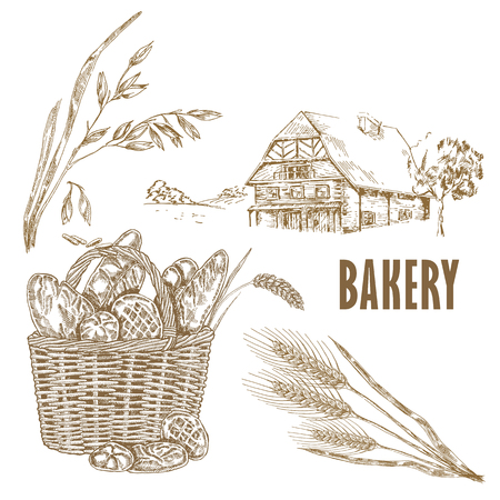 Bakery Basket Template. Hand drawn bread, farm house, oats and wheat illustration in sketch style.