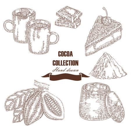 Handgezeichnete Kakaobohnen Kakaopulver, Schokoladenkuchen, Marshmallow, heiße Schokolade im Skizzenstil. Vektor-Set Standard-Bild - 76496841