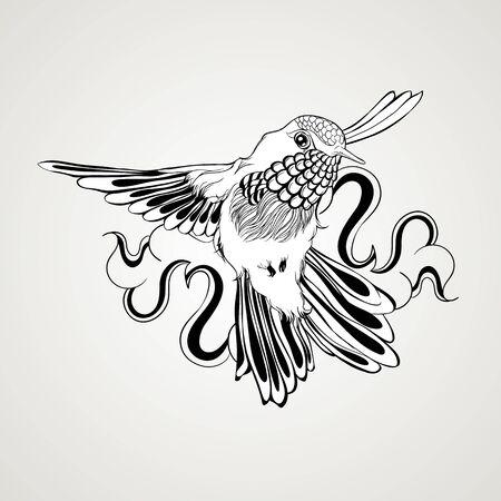 Hand drawn flying humming bird vintage style. Elegant tattoo art. Vector illustration isolated