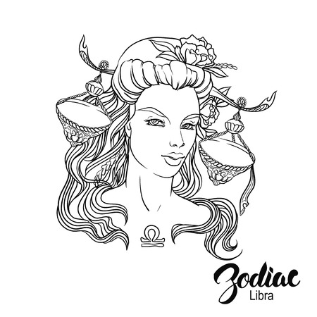 Zodiac. Vector illustration of Libra as girl with flowers. Isolated on white background Illustration