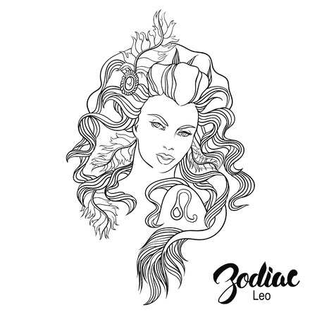 Zodiac. Vector illustration of Leo as girl with flowers. Isolated on white background. Illustration