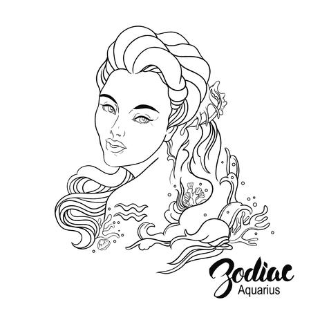Ilustración Del Zodíaco De Acuario Como Niña Con Flores. Diseño De ...