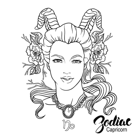 Zodiac. Vector illustration of Capricorn as girl with flowers. Isolated on white background.