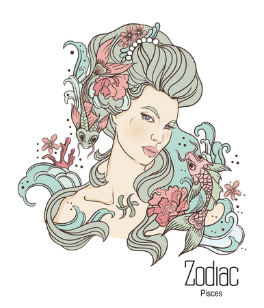 Zodiac. Vector illustration of Pisces as girl with flowers. Isolated on white background.
