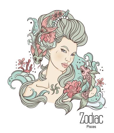Zodiaco. Illustrazione vettoriale di pesci come ragazza con i fiori. Isolato su sfondo bianco Archivio Fotografico - 84059361