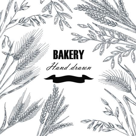 Bread design template. Hand drawn wheat set. Vector illustration Vettoriali