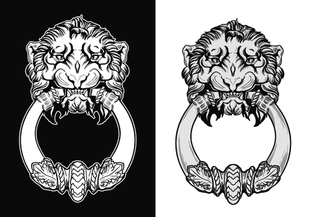Engraved lion head door knocker. Hand drawn vector illustration isolated