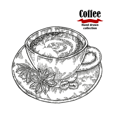 Hand drawn coffee cup isolated on white background. Vector illustration engraved. Stock Illustratie
