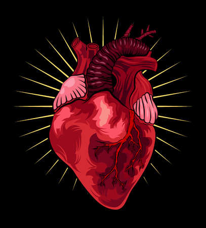 Human heart on black background. Vector illustration in tattoo style.