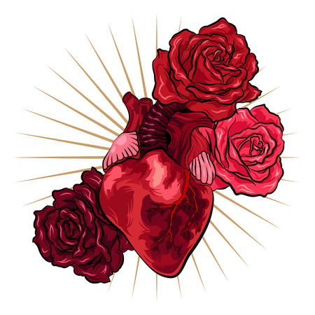 Human heart with red roses in tattoo style. Vector illustration Illustration