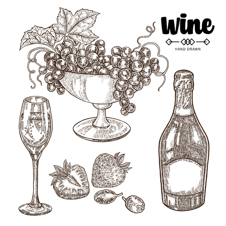 Hand drawn bottle champagne with grape and wine glasses. Vector illustration vintage. Alcohol drink set in sketch style. 免版税图像 - 100187106