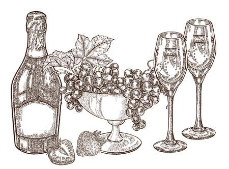 Hand drawn bottle champagne with grape and wine glasses. Vector illustration vintage. Alcohol drink set in sketch style. All is layered. 免版税图像 - 100187109