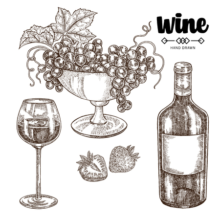 Hand drawn wine bottle with grapes and wineglass. Vector illustration vintage. Alcohol drink set in sketch style. 免版税图像 - 100187110