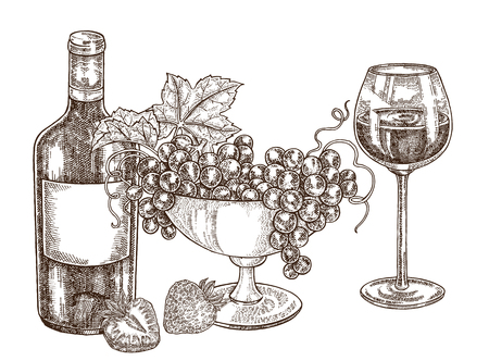 Hand drawn bottle of wine with grapes and wineglass. Vector illustration vintage. Alcohol drink set in sketch style. All is layered. 矢量图像