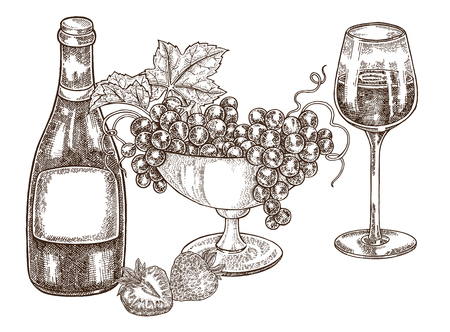 Hand drawn bottle of wine with grapes and wineglass. Vector illustration vintage. Alcohol drink set in sketch style. All is layered. 免版税图像 - 100187783