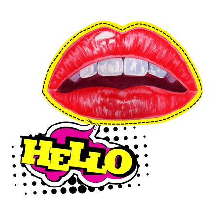 Watercolor hand drawn red woman lips illustration. Pop art style design isolated on white background. 免版税图像