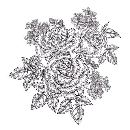 Hand drawn rose flowers and leaves. Vintage floral composition with spring garden flowers. Vector illustration engraved. 免版税图像 - 114703086