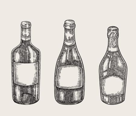 Hand drawn wine bottles in sketch style. Vector illustration vintage. 免版税图像 - 105714772
