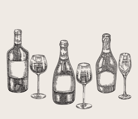 Hand drawn wine bottles and glasses in sketch style. Vector illustration vintage.