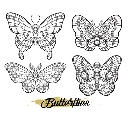Stylised butterflies isolated on white background. Vector moth illustration line art style. Design for tattoo or t shirt graphic. 免版税图像 - 112754166