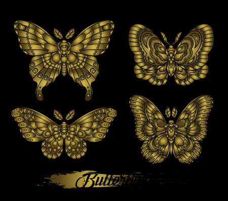Stylised golden butterflies on black background. Decorative moth vector illustration. Design for tattoo or t shirt graphic. 免版税图像 - 112754169
