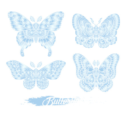 Stylised blue butterflies isolated on white background. Decorative moth graphic design. Vector illustration. 矢量图像