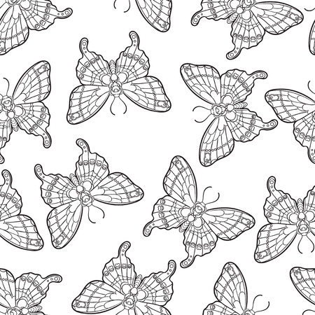 Seamless pattern with butterflies. Stylised moth in line art style. Black and white vector illustration. 免版税图像 - 121948005