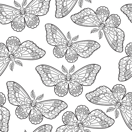 Seamless pattern with butterflies. Stylised moth in line art style. Black and white vector illustration. 免版税图像 - 121948006