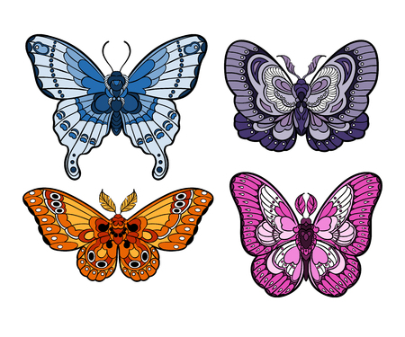 Stylised colorful butterflies isolated on white background. Moth collection. Vector illustration 矢量图像