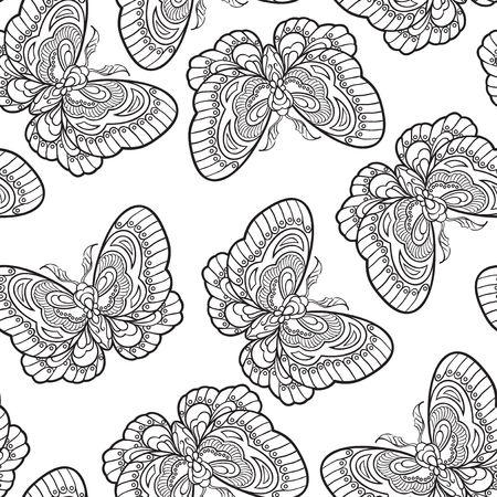 Seamless pattern with butterflies. Stylised moth in line art style. Black and white vector illustration. 免版税图像 - 121948007