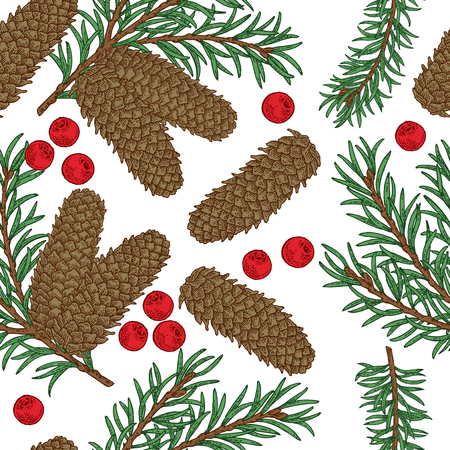Seamless pattern with hand drawn fir cones, branches and berries. Vector illustration engraved. Design for Christmas greeting cards and packaging.