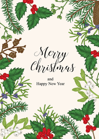 Hand drawn Christmas card with winter plants. Spruse, holly, mistletoe, juniper and cones vector illustration. Botanical design elements. 免版税图像 - 121948027