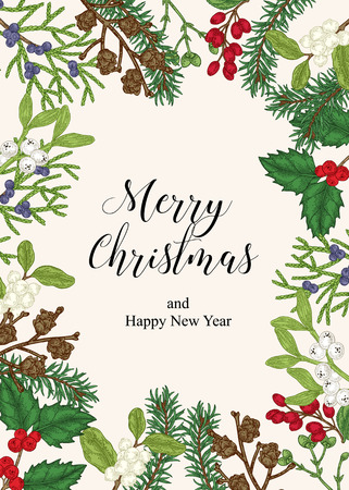 Hand drawn Christmas card with winter plants. Spruse, holly, mistletoe, juniper and cones vector illustration. Botanical design elements. 免版税图像 - 121948028