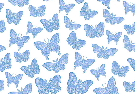 Blue butteflies on white background seamless pattern. Vector illustration. 矢量图像