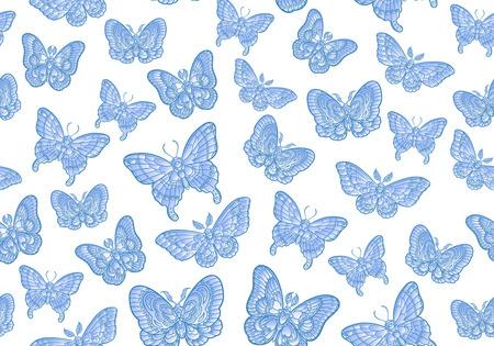 Blue butteflies on white background seamless pattern. Vector illustration. 免版税图像 - 121948029