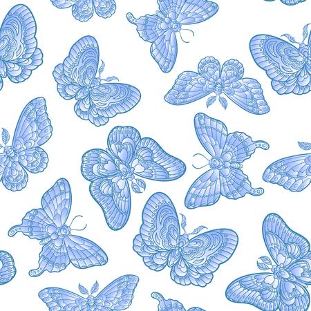Blue butteflies on white background seamless pattern. Vector illustration. 免版税图像 - 121948031