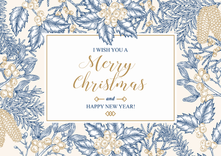 Hand drawn Christmas card with winter plants. Spruse, holly, mistletoe, juniper and cones vector illustration. Botanical design elements. 矢量图像