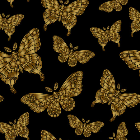 Seamless pattern with gold butteflies on black background. Vector illustration. 矢量图像
