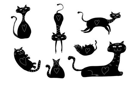 Patterned aesthetic black cat figure, drawing illustration. Stock Photo